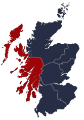 Map of Scotland illustrating the diocese's geographical region